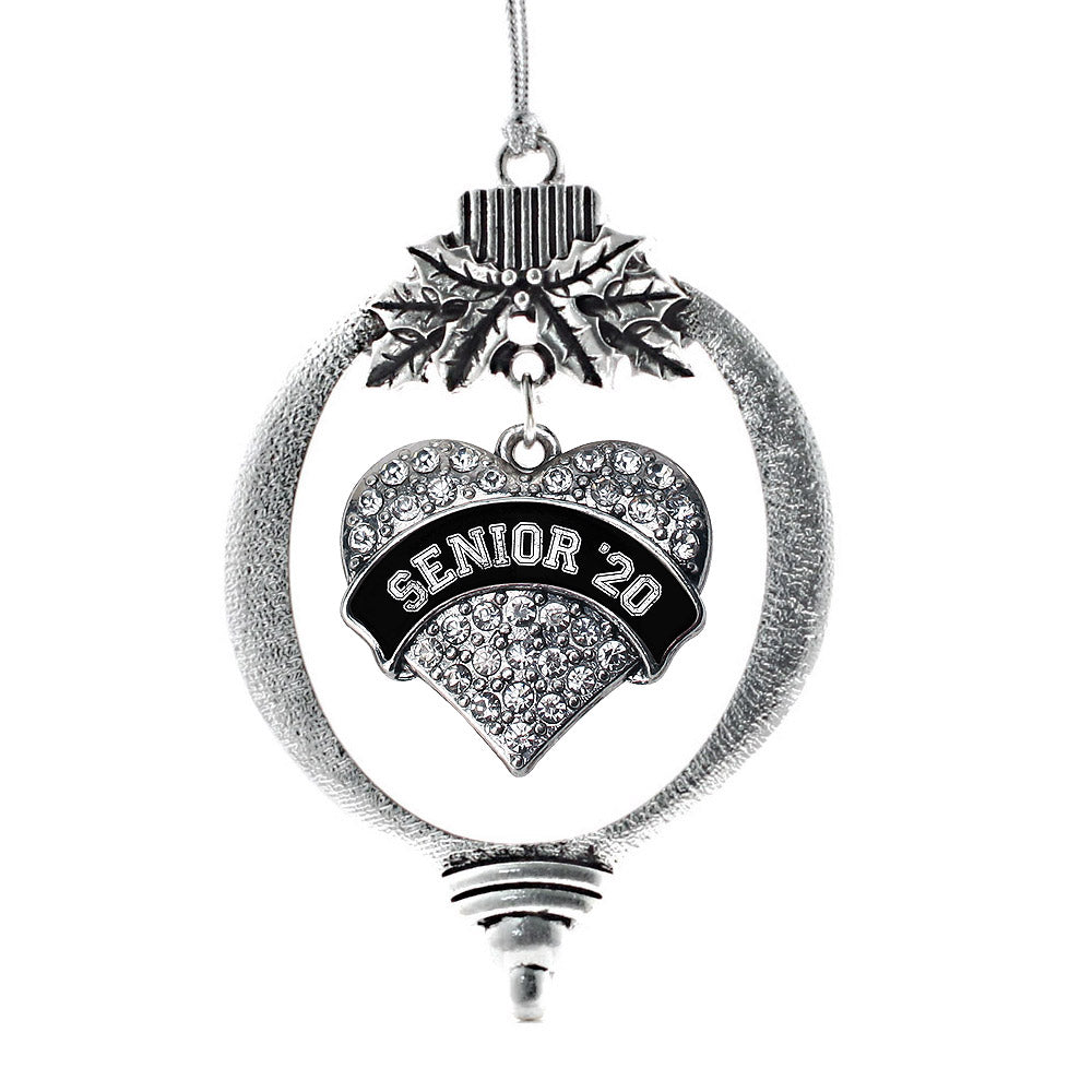 Black and White Senior 2020 Pave Heart Charm Christmas / Holiday Ornament