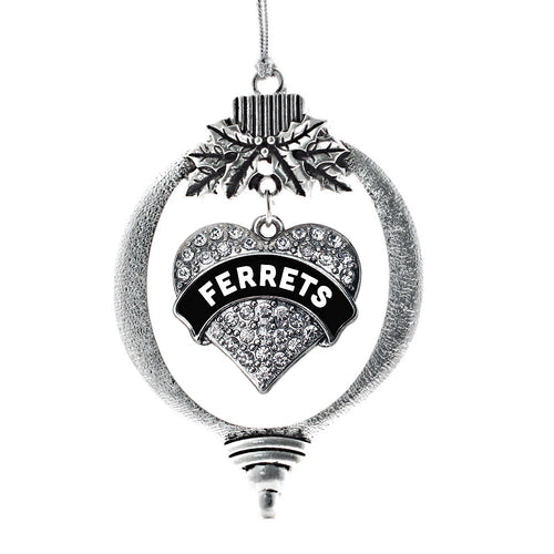 Black and White Ferrets Pave Heart Charm Christmas / Holiday Ornament