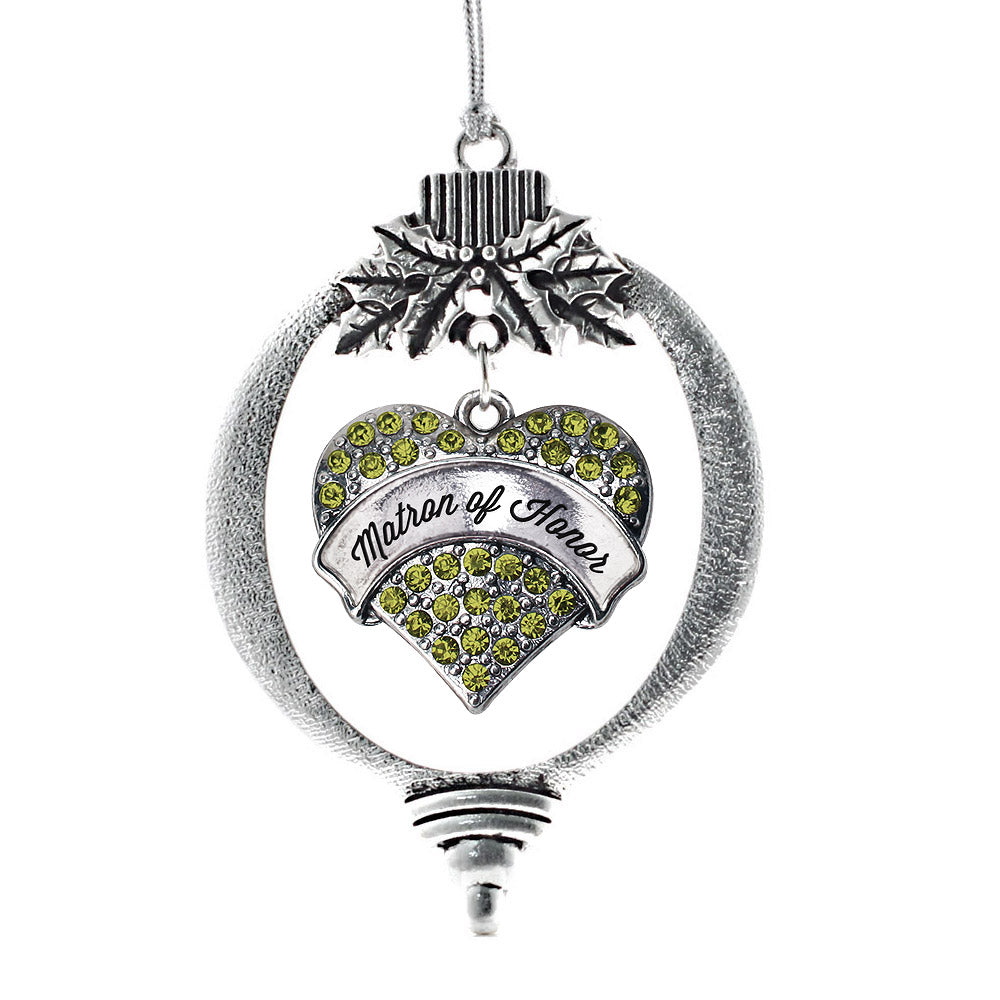Matron of Honor Green Pave Heart Charm Christmas / Holiday Ornament