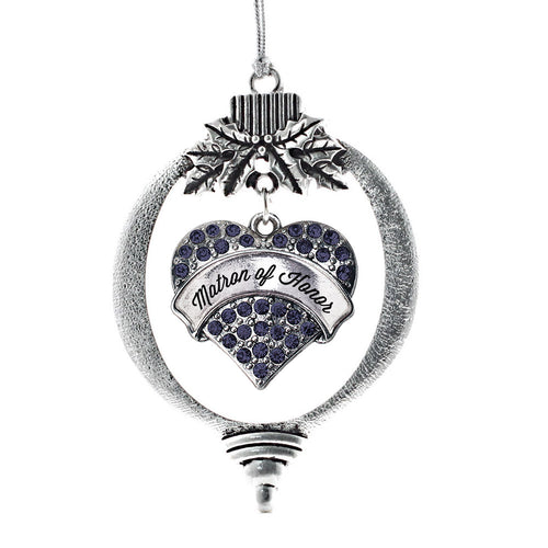 Matron of Honor Navy Blue Pave Heart Charm Christmas / Holiday Ornament