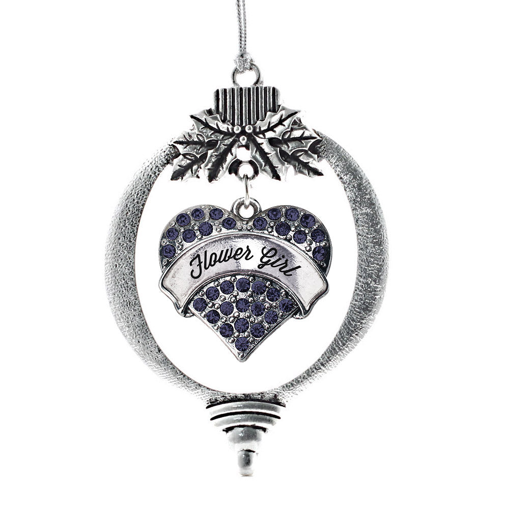 Flower Girl Navy Blue Pave Heart Charm Christmas / Holiday Ornament