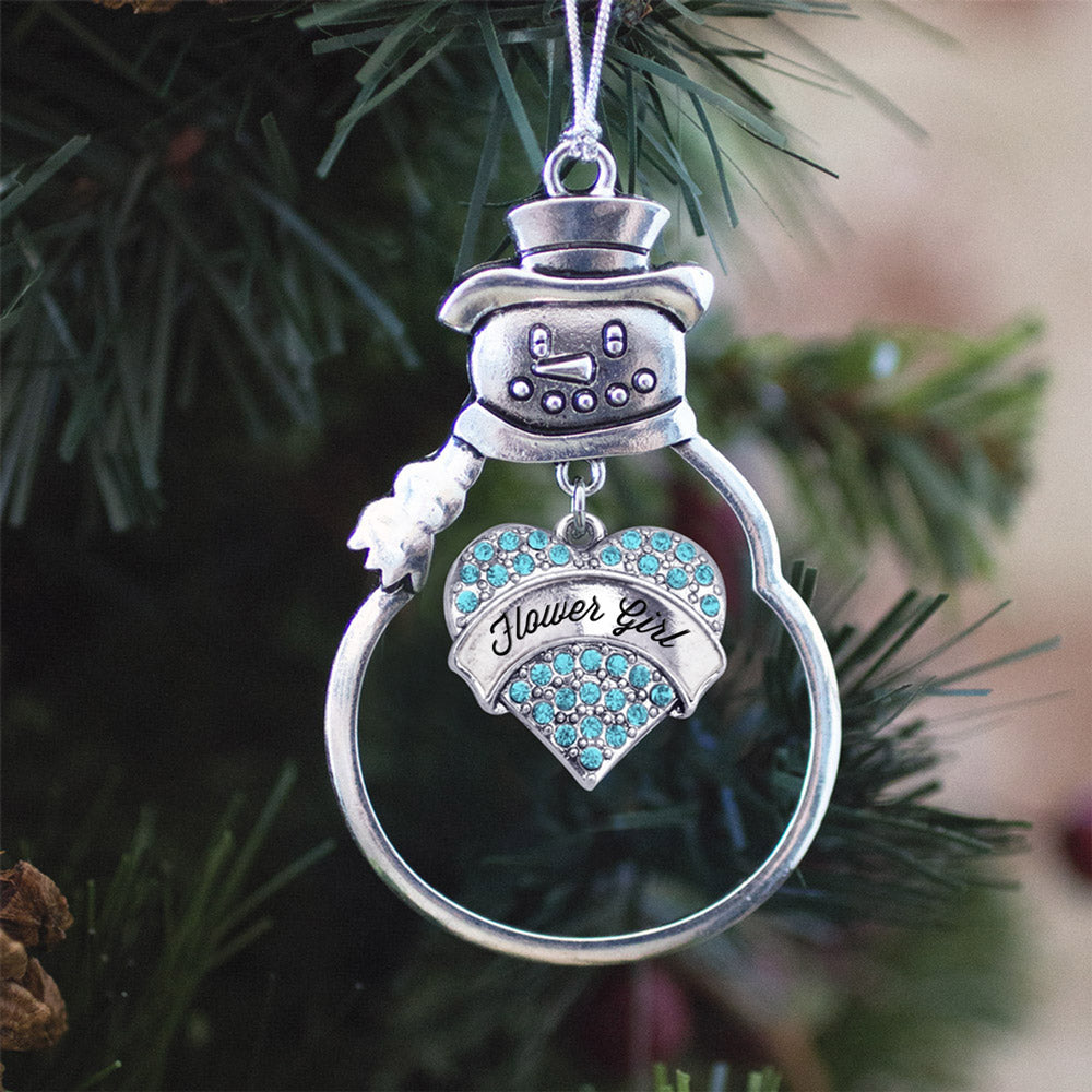 Flower Girl Aqua Pave Heart Charm Christmas / Holiday Ornament