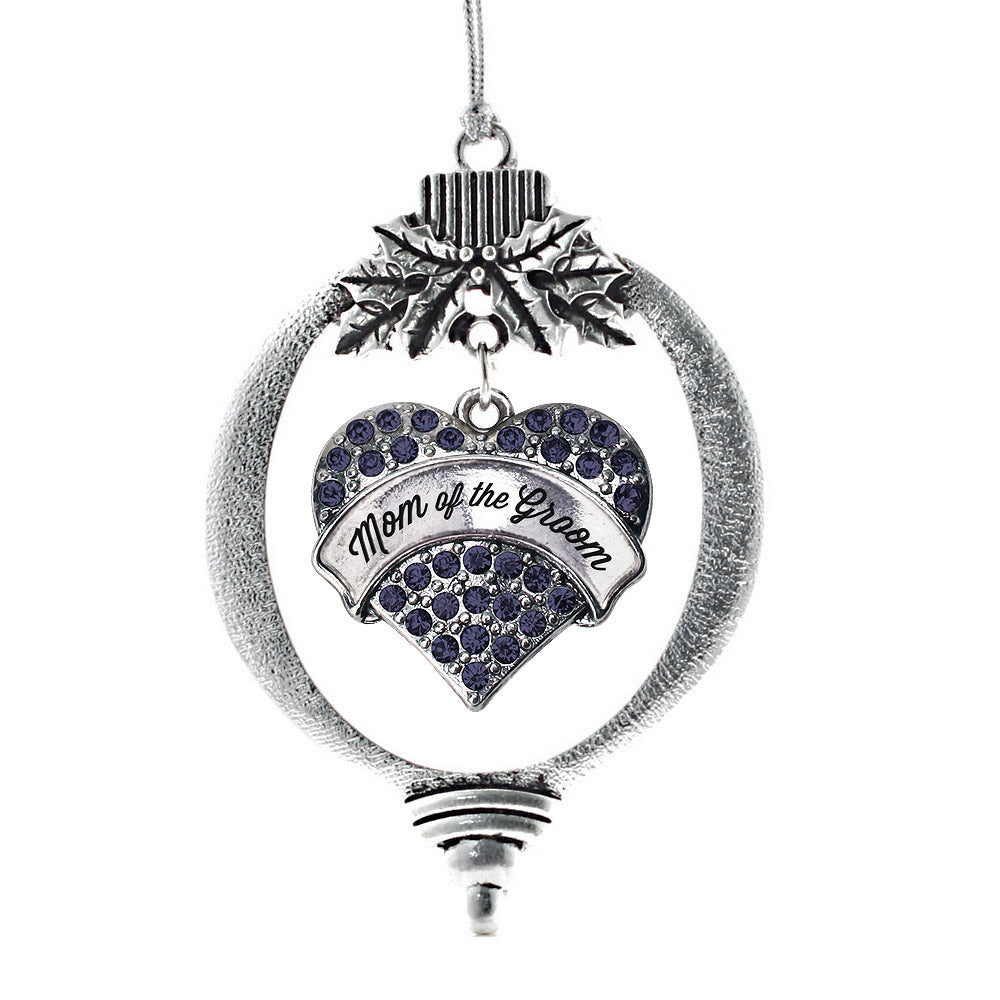 Mom of the Groom Navy Blue Pave Heart Charm Christmas / Holiday Ornament