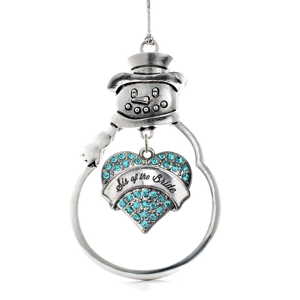 Sis of the Bride Aqua Pave Heart Charm Christmas / Holiday Ornament