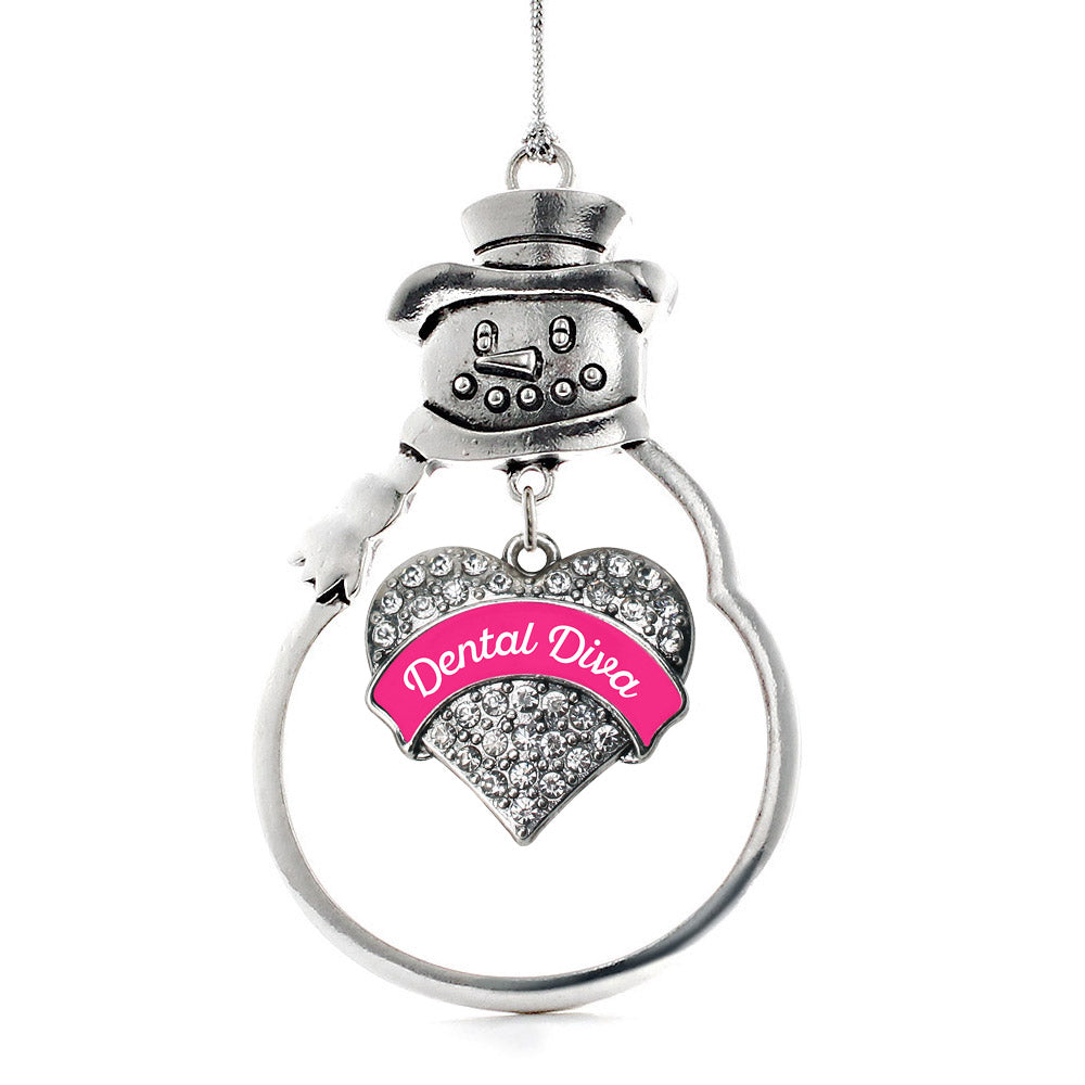 Pink Dental Diva Pave Heart Charm Christmas / Holiday Ornament
