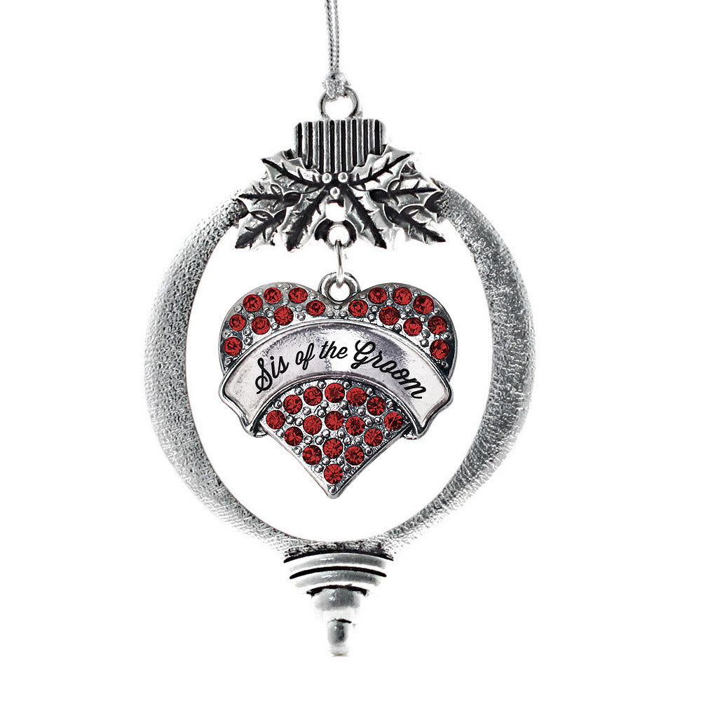 Sis of the Groom Red Pave Heart Charm Christmas / Holiday Ornament