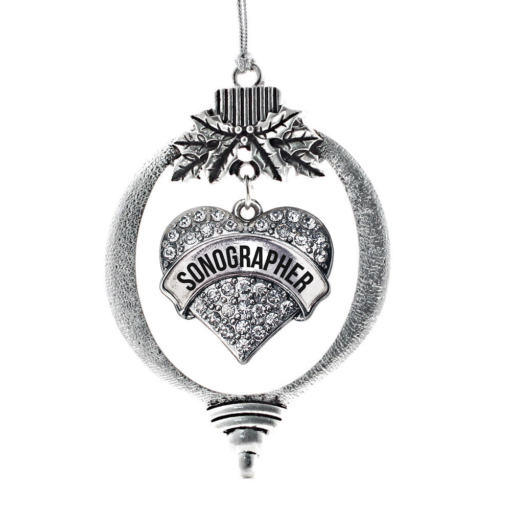Sonographer Pave Heart Charm Christmas / Holiday Ornament