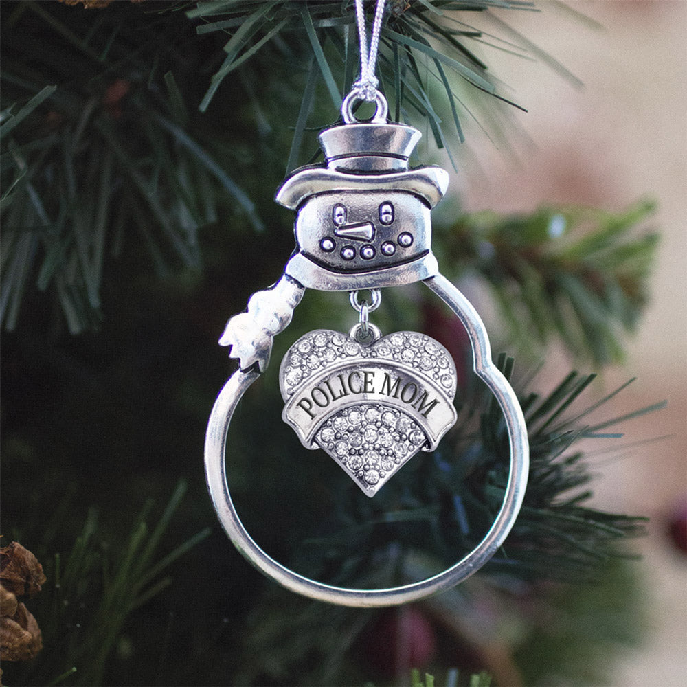 Police Mom Crystal Pave Heart Charm Christmas / Holiday Ornament