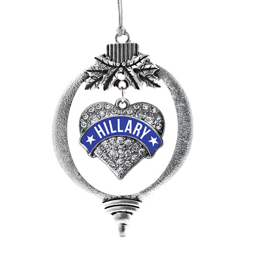 Hillary Supporter Pave Heart Charm Christmas / Holiday Ornament