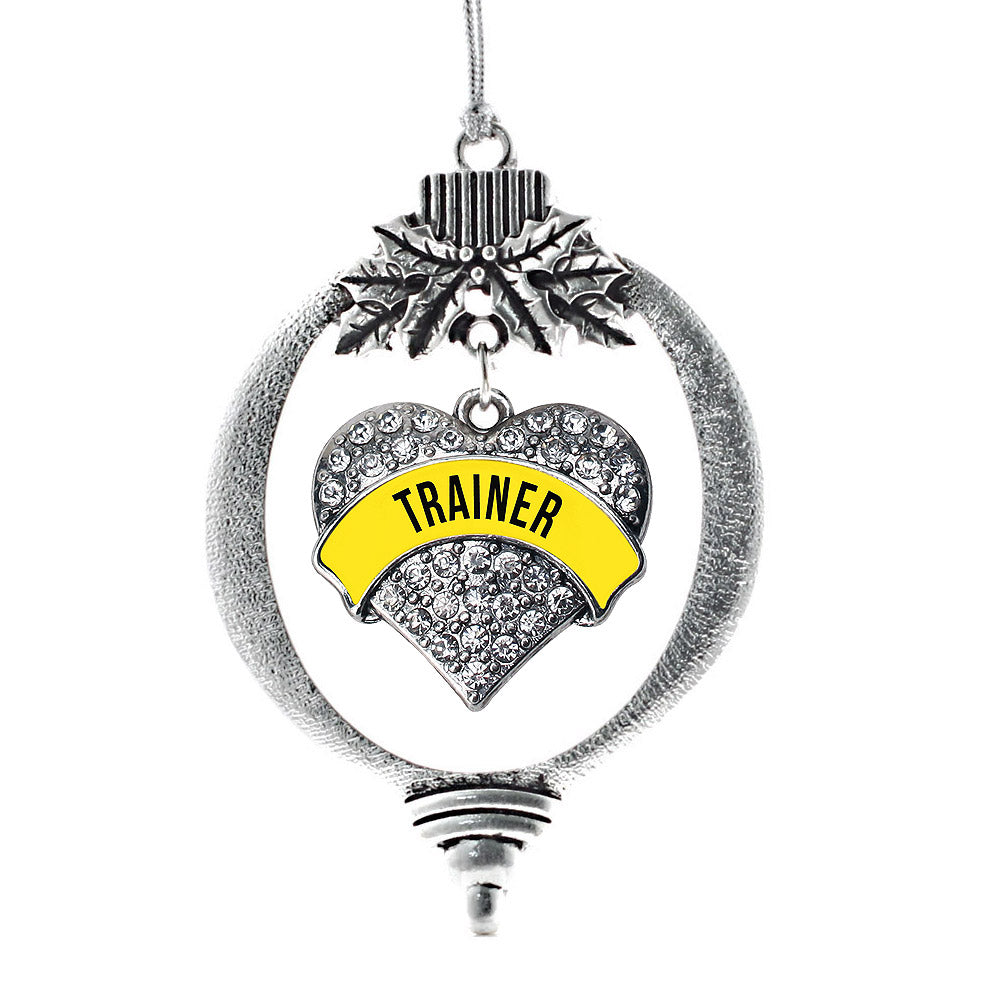Yellow Trainer Pave Heart Charm Christmas / Holiday Ornament