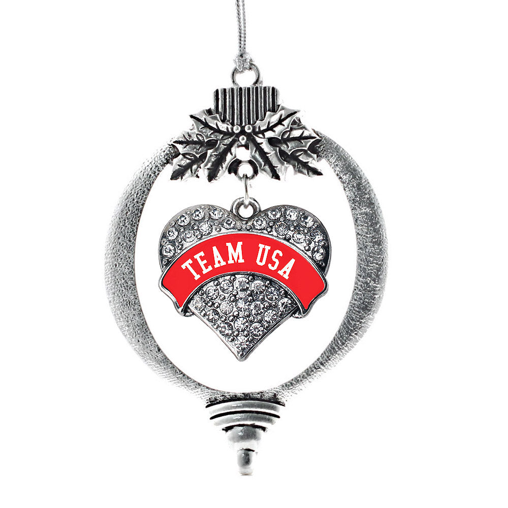 Red Banner Team USA Pave Heart Charm Christmas / Holiday Ornament