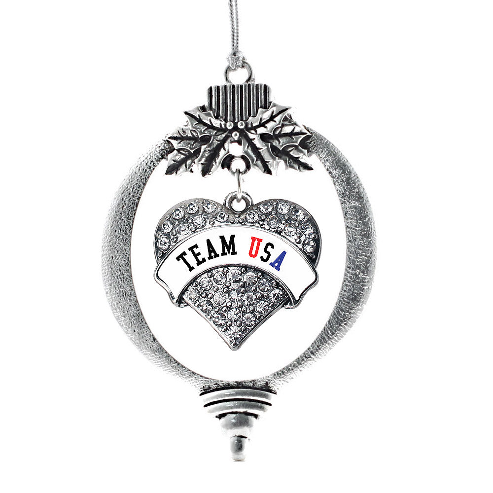 White Banner Team USA Pave Heart Charm Christmas / Holiday Ornament