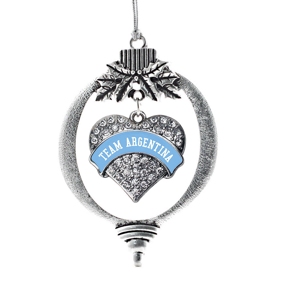 Team Argentina Pave Heart Charm Christmas / Holiday Ornament