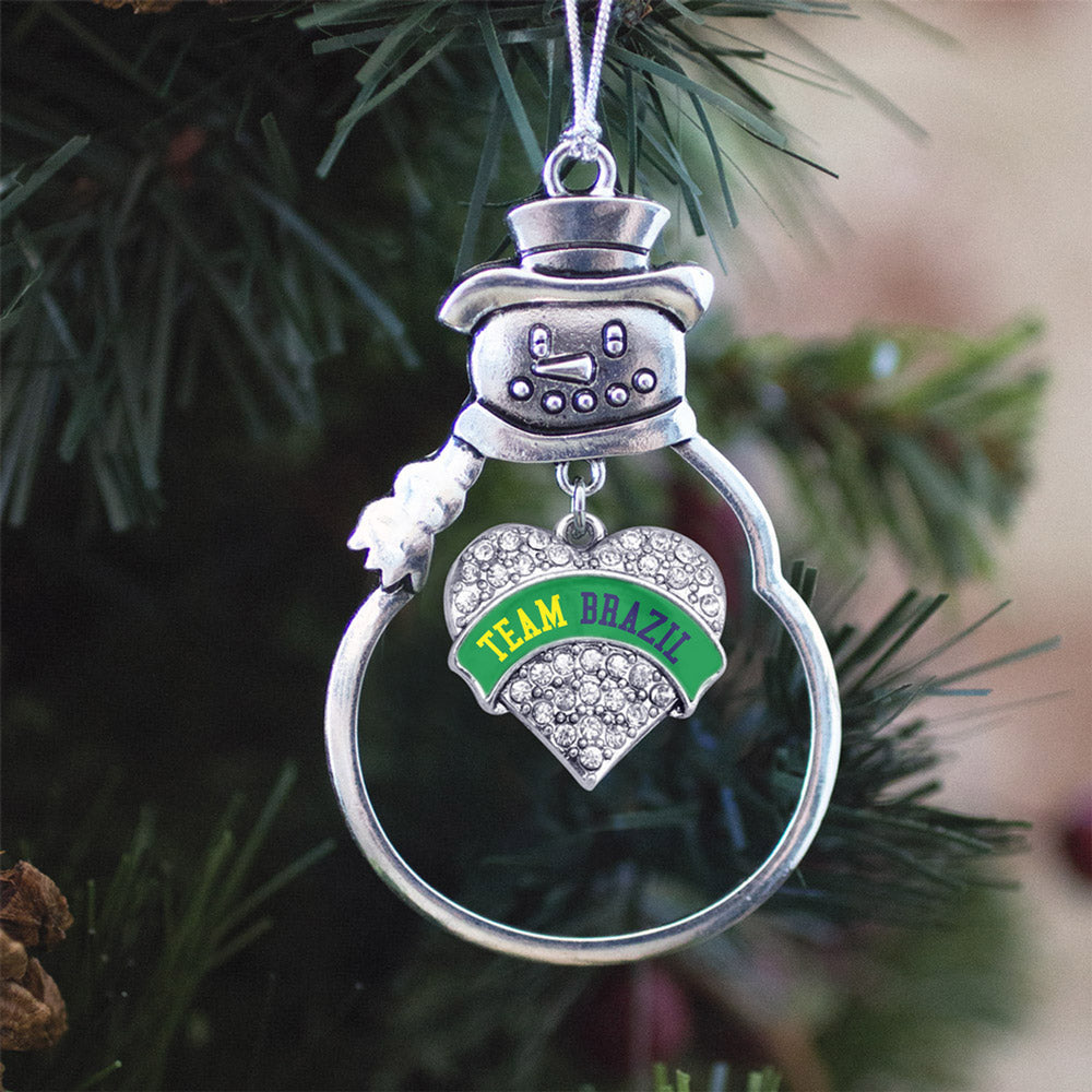 Team Brazil Pave Heart Charm Christmas / Holiday Ornament