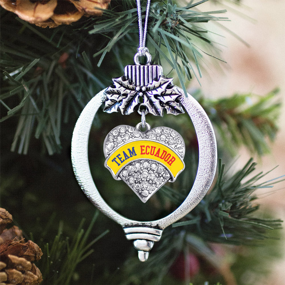 Team Ecuador Pave Heart Charm Christmas / Holiday Ornament