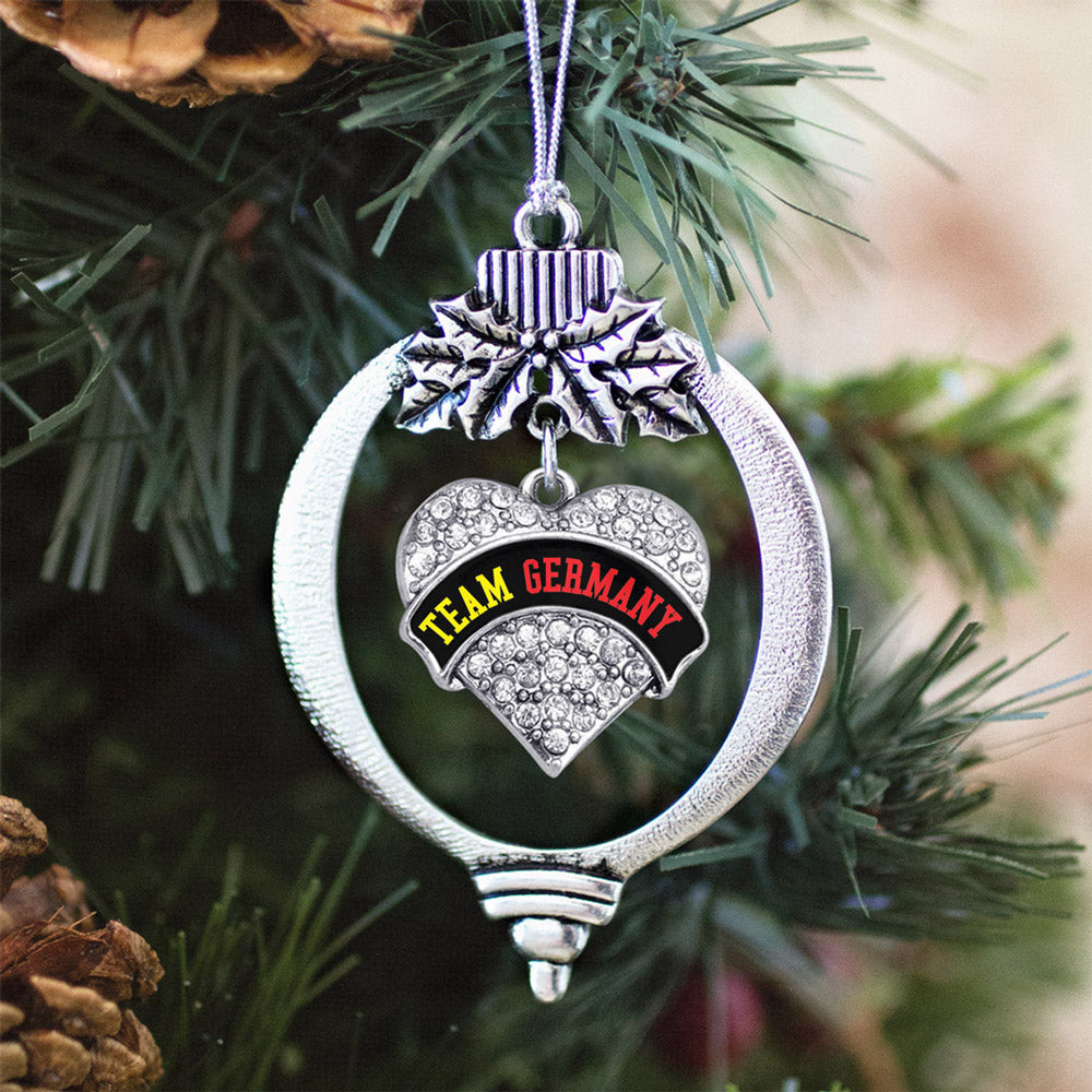 Team Germany Pave Heart Charm Christmas / Holiday Ornament