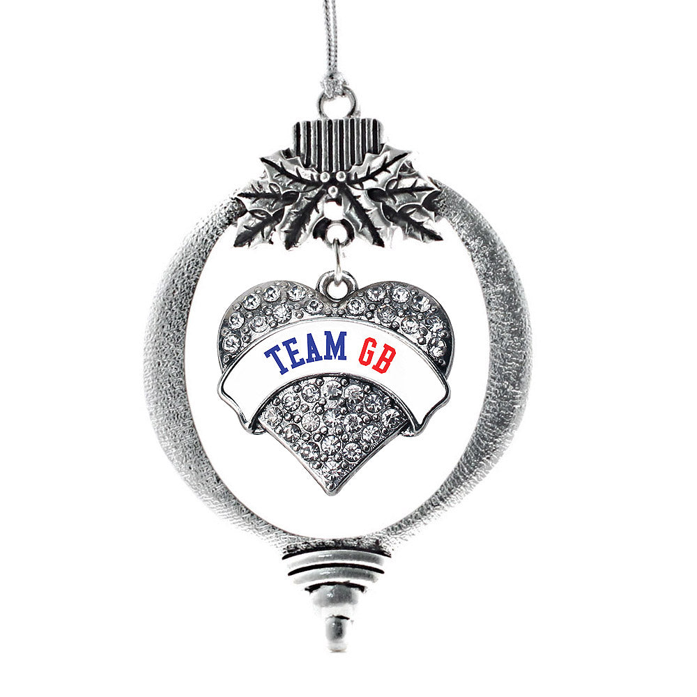 Team Great Britain Pave Heart Charm Christmas / Holiday Ornament