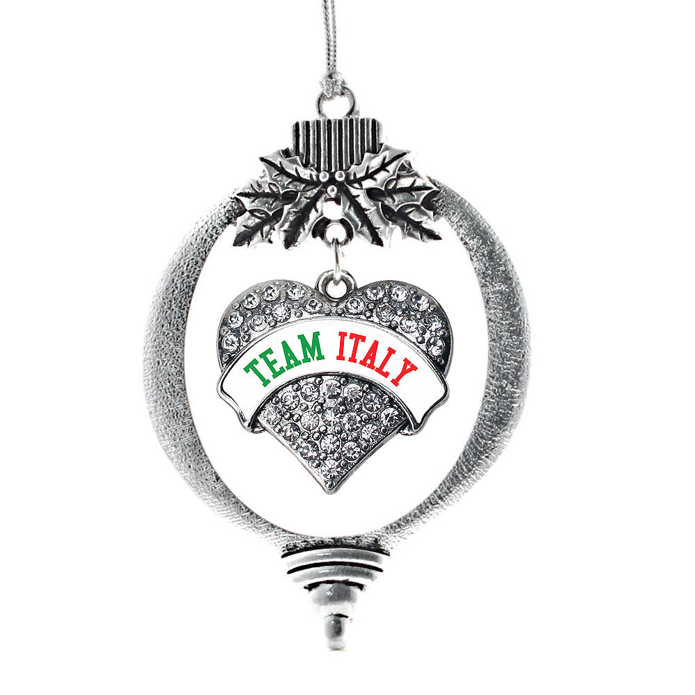 Team Italy Pave Heart Charm Christmas / Holiday Ornament