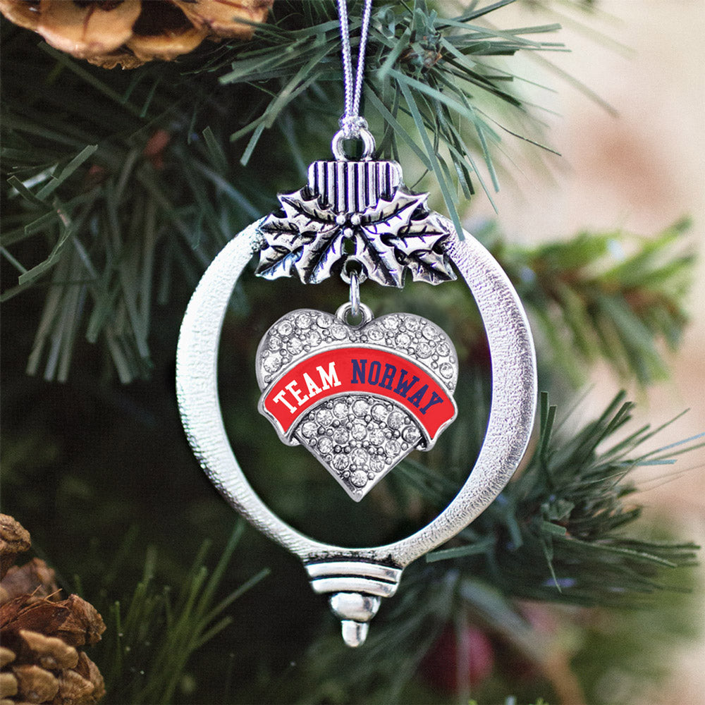 Team Norway Pave Heart Charm Christmas / Holiday Ornament