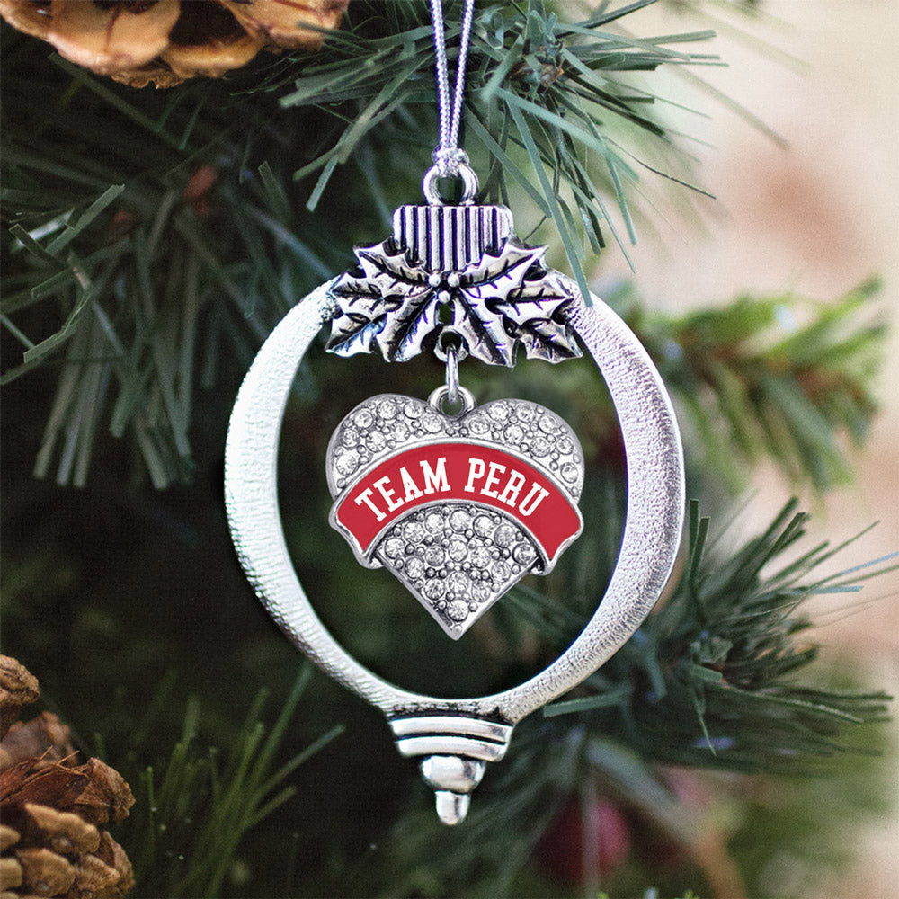 Team Peru Pave Heart Charm Christmas / Holiday Ornament