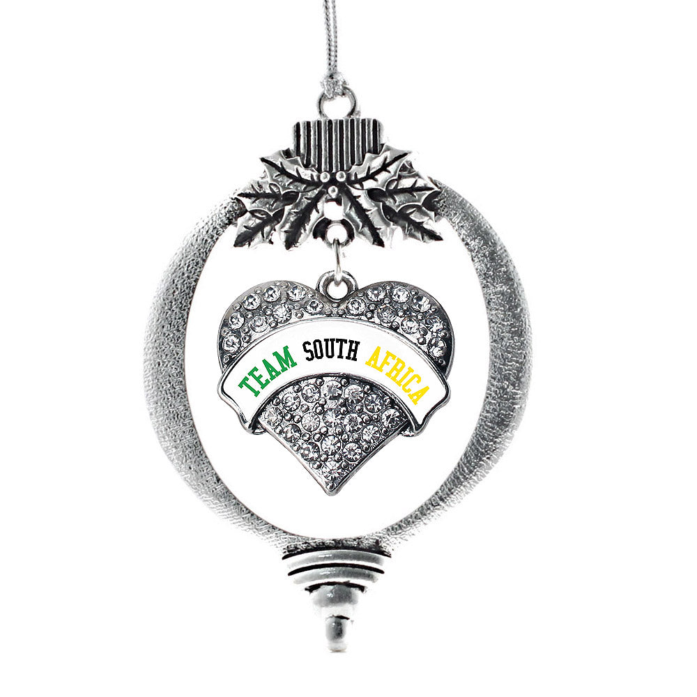 Team South Africa Pave Heart Charm Christmas / Holiday Ornament