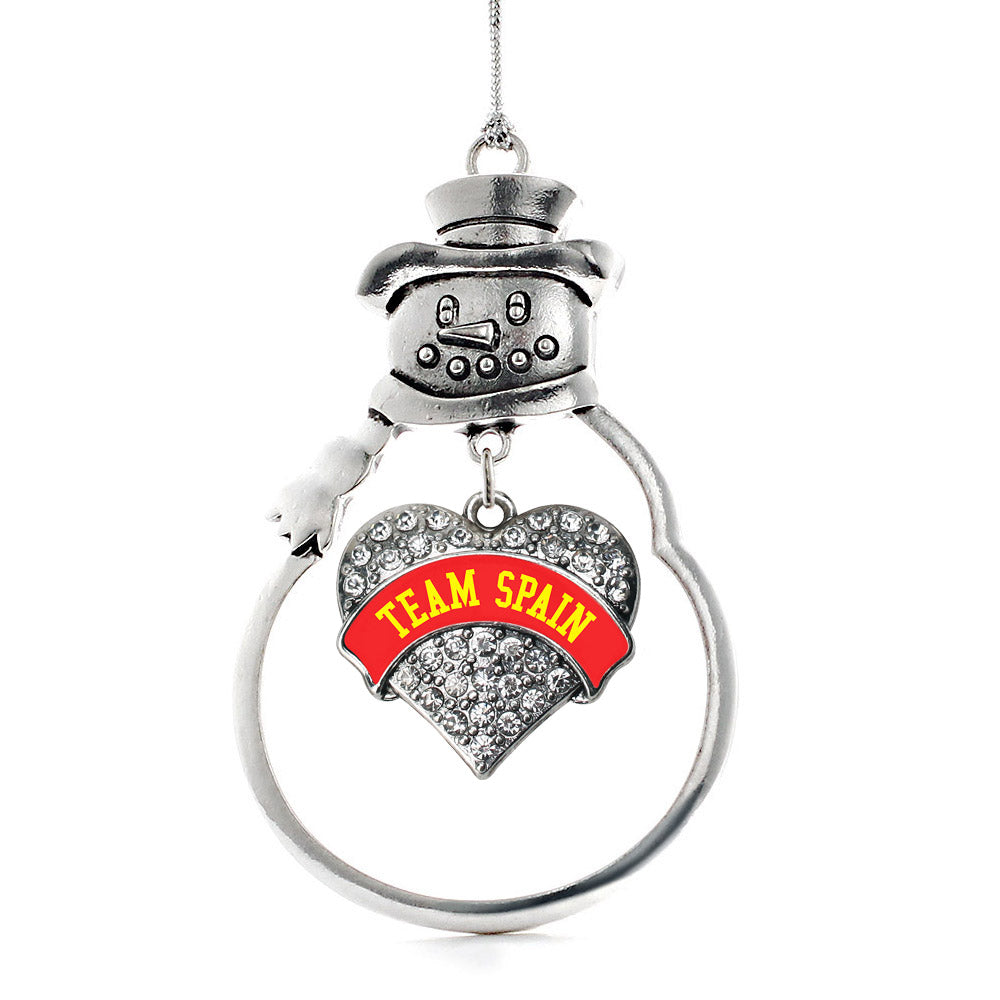 Team Spain Pave Heart Charm Christmas / Holiday Ornament