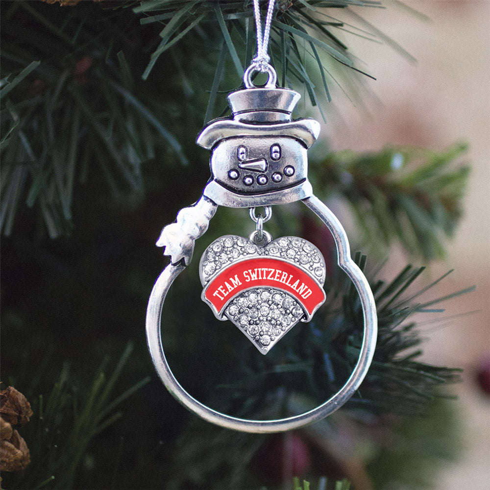 Team Switzerland Pave Heart Charm Christmas / Holiday Ornament
