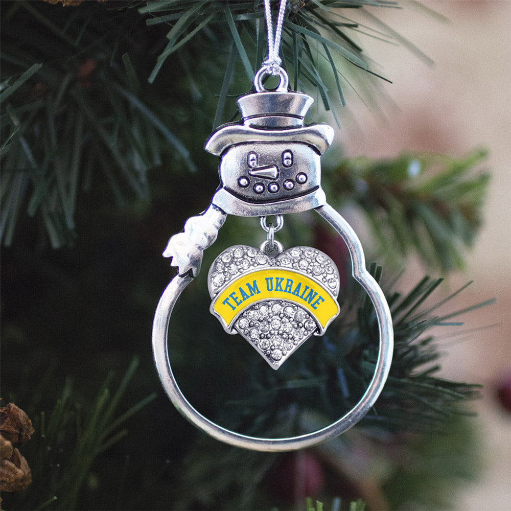Team Ukraine Pave Heart Charm Christmas / Holiday Ornament