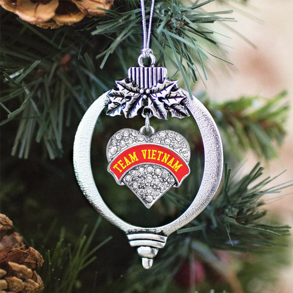Team Vietnam Pave Heart Charm Christmas / Holiday Ornament