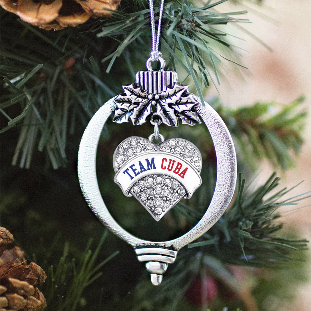 Team Cuba Pave Heart Charm Christmas / Holiday Ornament