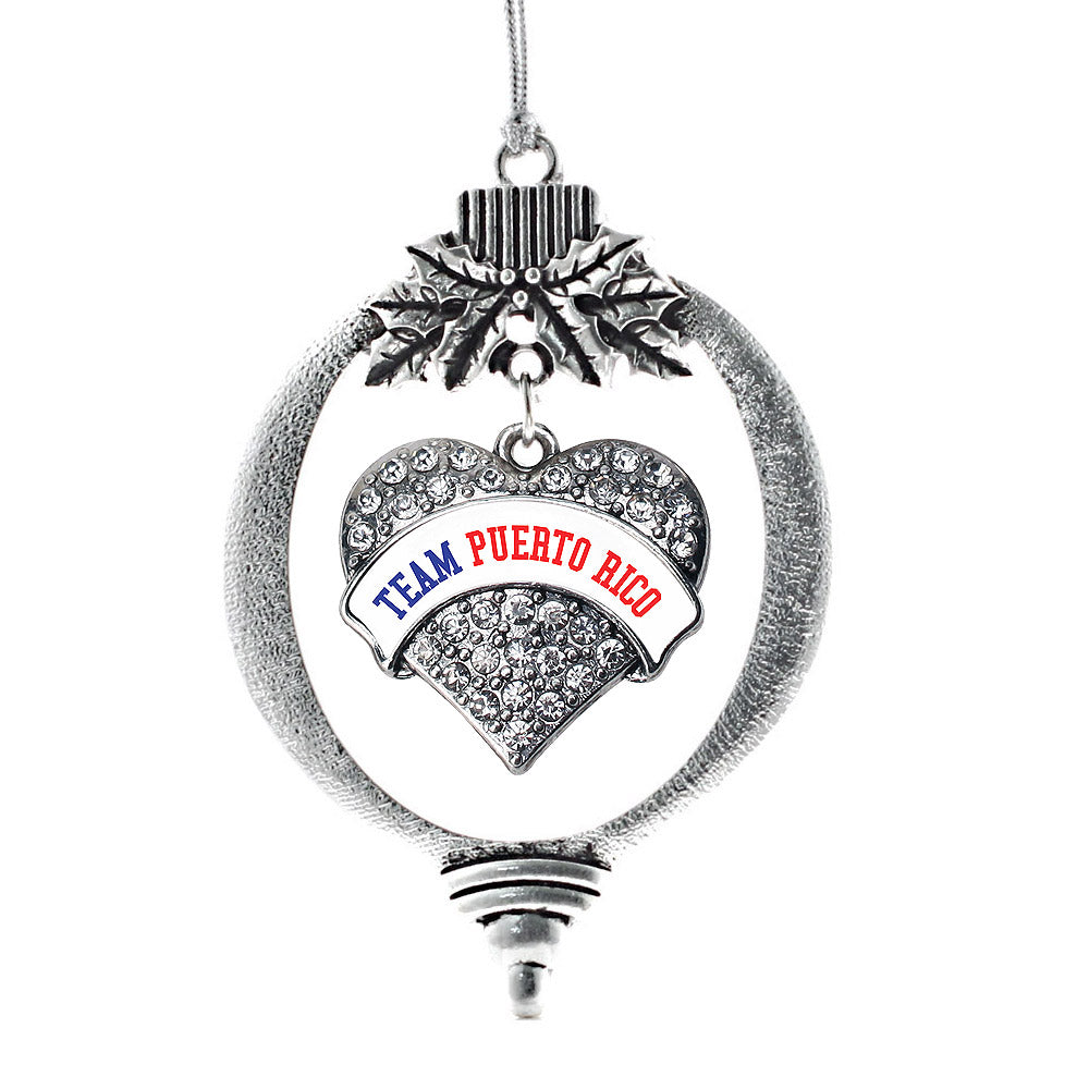 Team Puerto Rico Pave Heart Charm Christmas / Holiday Ornament