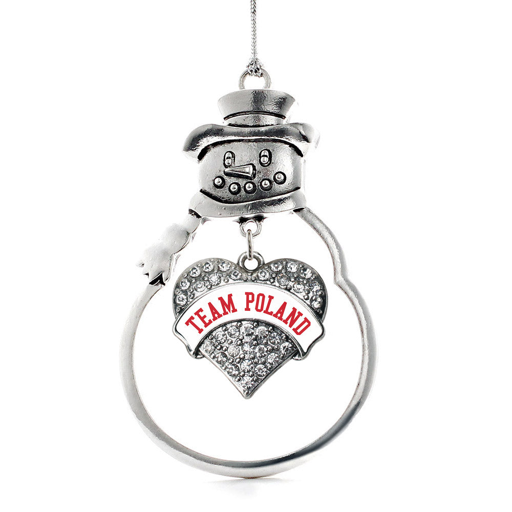 Team Poland Pave Heart Charm Christmas / Holiday Ornament