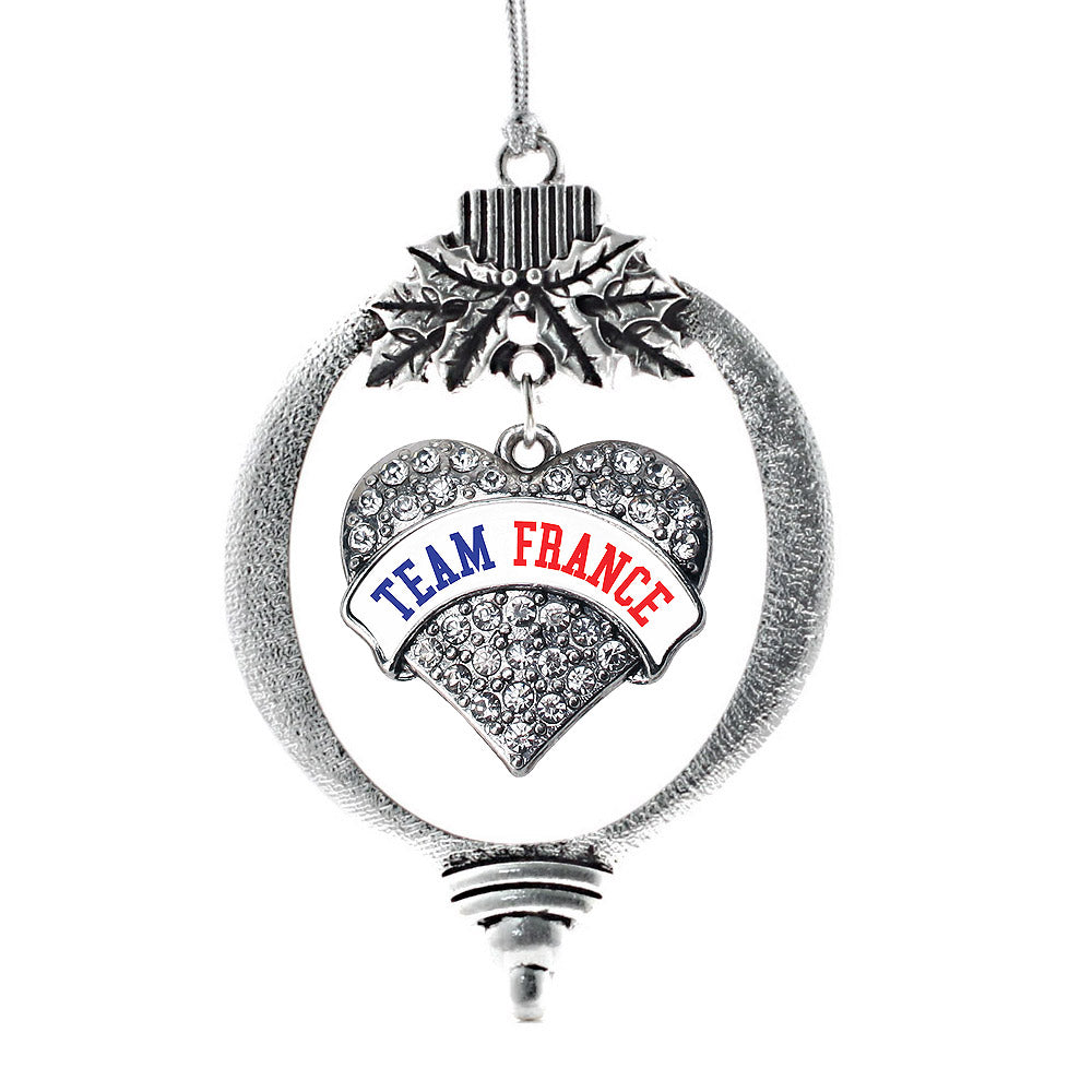 Team France Pave Heart Charm Christmas / Holiday Ornament