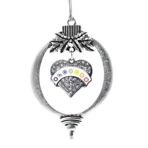 White Banner Chakra Symbols Pave Heart Charm Christmas / Holiday Ornament