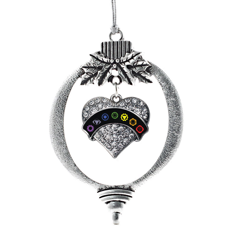Black Banner Chakra Symbols Pave Heart Charm Christmas / Holiday Ornament