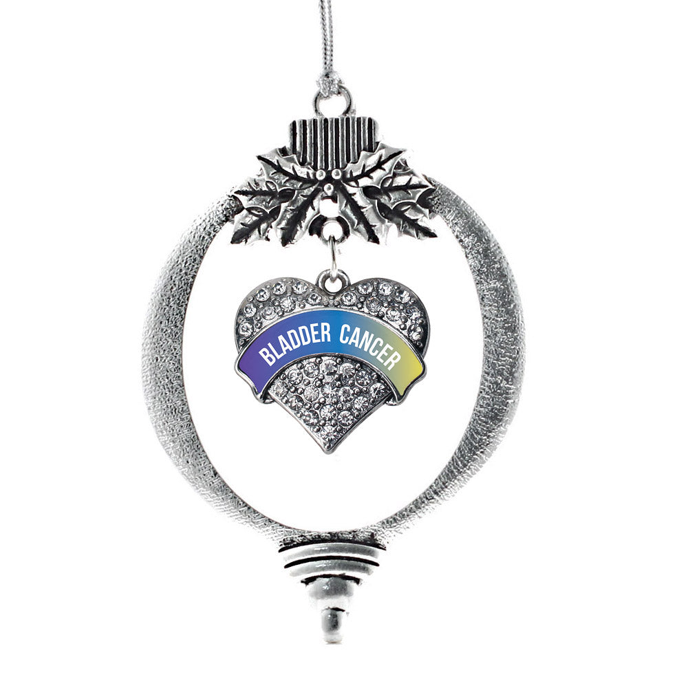Bladder Cancer Awareness Pave Heart Charm Christmas / Holiday Ornament