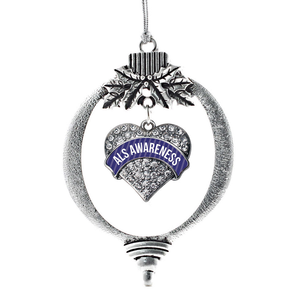 ALS Awareness Pave Heart Charm Christmas / Holiday Ornament
