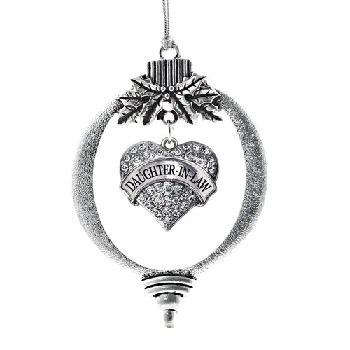 Daughter in Law Crystal Pave Heart Charm Christmas / Holiday Ornament