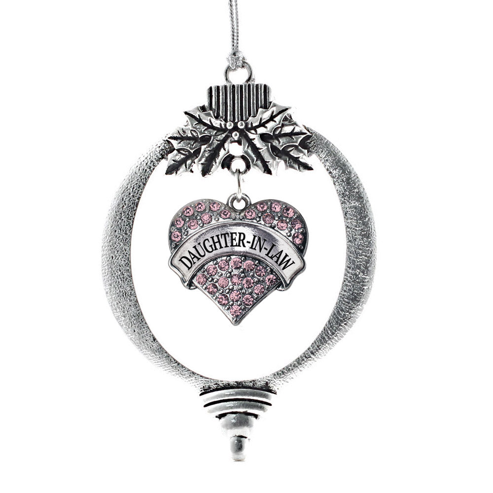 Daughter in Law Pink Pave Heart Charm Christmas / Holiday Ornament