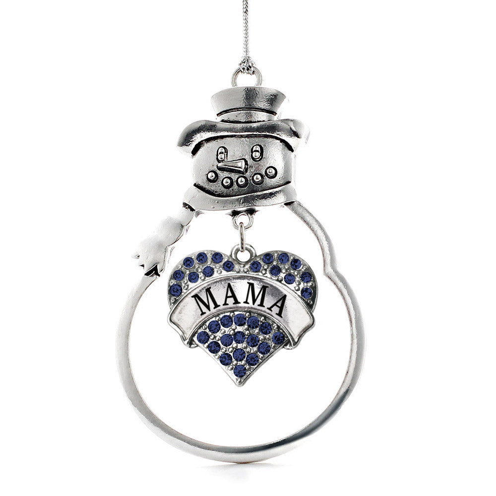 Mama Navy Blue Pave Heart Charm Christmas / Holiday Ornament