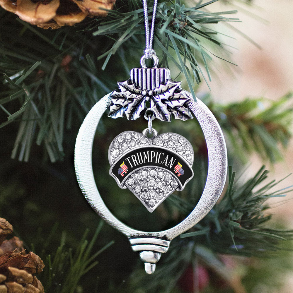 Trumpican Pave Heart Charm Christmas / Holiday Ornament