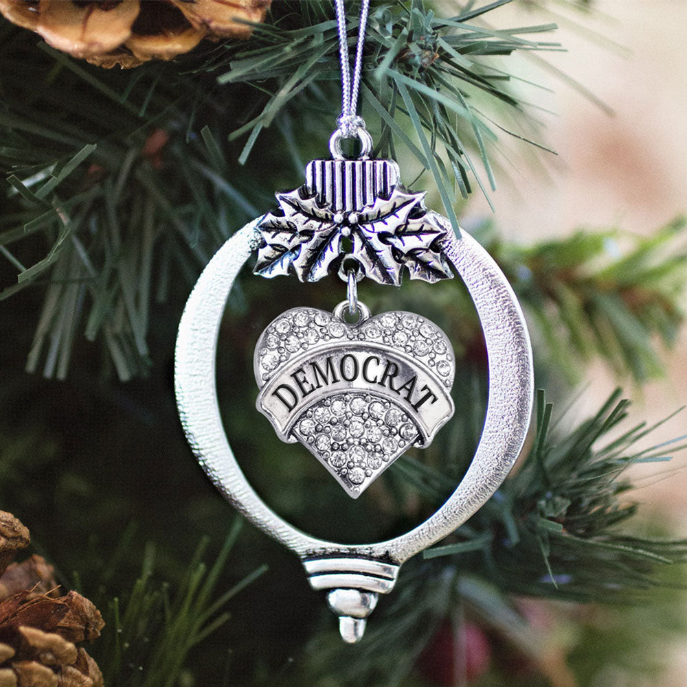 Democrat Crystal Pave Heart Charm Christmas / Holiday Ornament