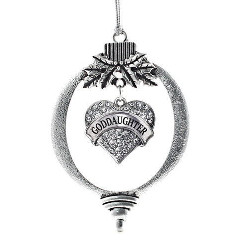 Goddaughter Pave Heart Charm Christmas / Holiday Ornament