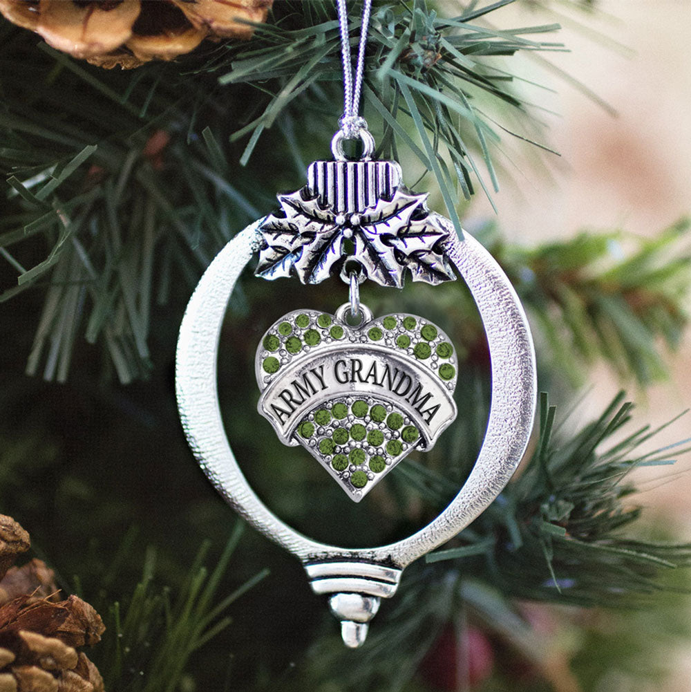 Army Grandma Green Pave Heart Charm Christmas / Holiday Ornament