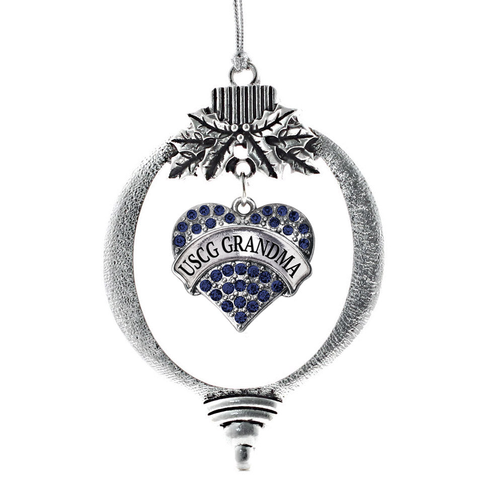 USCG Grandma Navy Blue Pave Heart Charm Christmas / Holiday Ornament