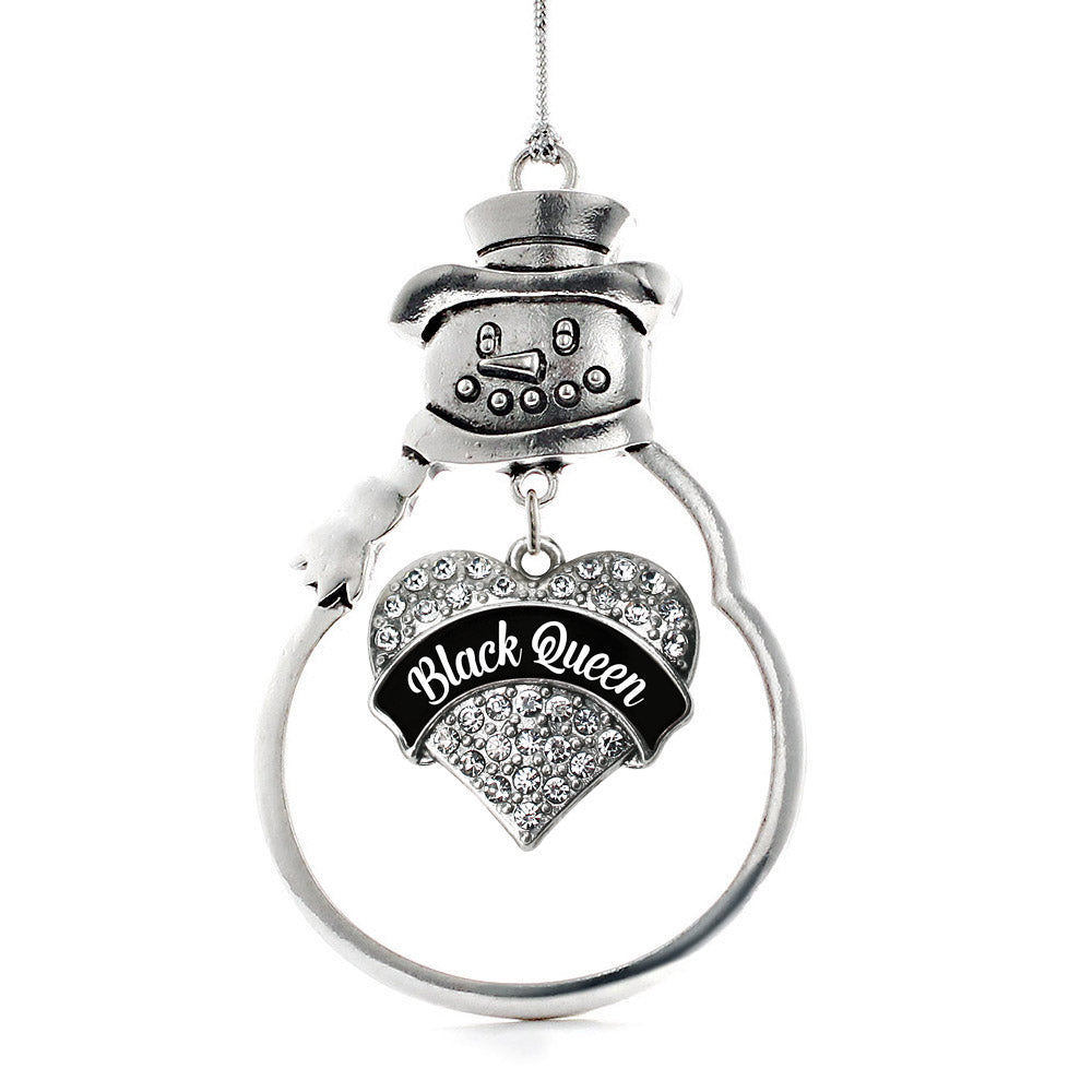 Black Queen Pave Heart Charm Christmas / Holiday Ornament