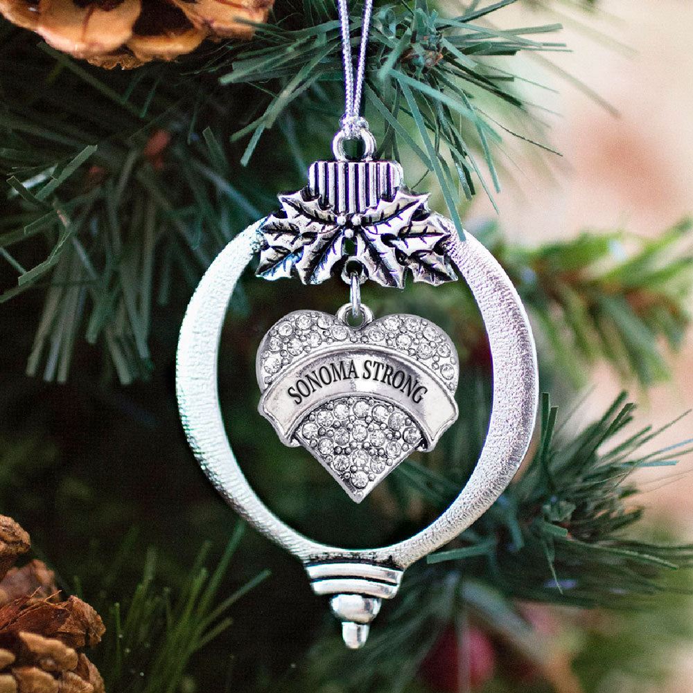 Sonoma Strong Pave Heart Charm Christmas / Holiday Ornament