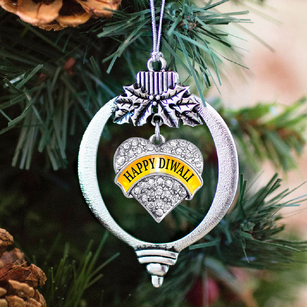 Happy Diwali Pave Heart Charm Christmas / Holiday Ornament