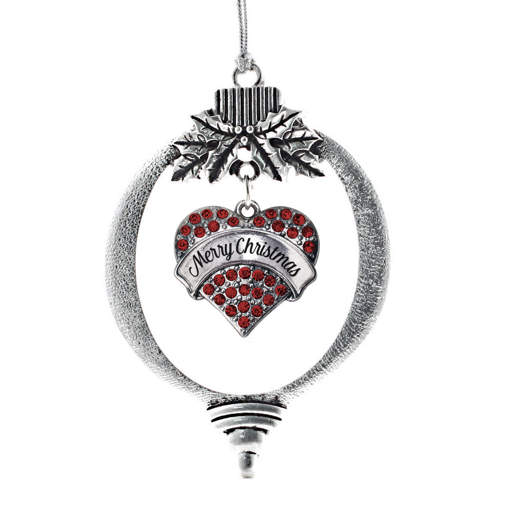 Merry Christmas Red Pave Heart Charm Christmas / Holiday Ornament