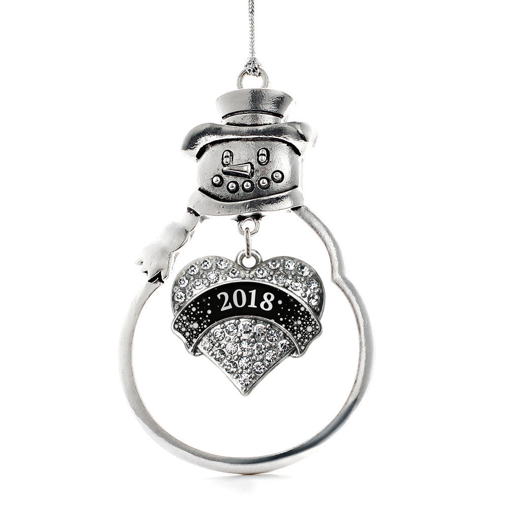 Black and Silver New Year's 2018 Pave Heart Charm Christmas / Holiday Ornament